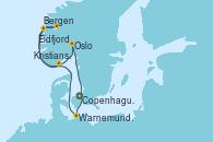 Visitando Copenhague (Dinamarca), Warnemunde (Alemania), Bergen (Noruega), Eidfjord (Hardangerfjord/Noruega), Kristiansand (Noruega), Oslo (Noruega), Copenhague (Dinamarca)
