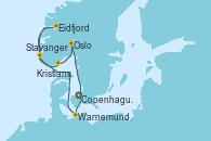 Visitando Copenhague (Dinamarca), Warnemunde (Alemania), Stavanger (Noruega), Eidfjord (Hardangerfjord/Noruega), Kristiansand (Noruega), Oslo (Noruega), Copenhague (Dinamarca)