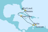 Visitando Fort Lauderdale (Florida/EEUU), Aruba (Antillas), Curacao (Antillas), Gran Caimán (Islas Caimán), Nassau (Bahamas), Fort Lauderdale (Florida/EEUU)