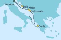 Visitando Venecia (Italia), Split (Croacia), Dubrovnik (Croacia), Corfú (Grecia), Kotor (Montenegro), Venecia (Italia)