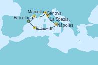 Visitando Barcelona, Marsella (Francia), Génova (Italia), La Spezia, Florencia y Pisa (Italia), Nápoles (Italia), Palma de Mallorca (España), Barcelona