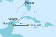 Visitando Tampa (Florida), Cozumel (México), Gran Caimán (Islas Caimán), Puerto Costa Maya (México), Tampa (Florida)
