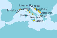 Visitando Venecia (Italia), Split (Croacia), Dubrovnik (Croacia), Kotor (Montenegro), Corfú (Grecia), Catania (Sicilia), Nápoles (Italia), Civitavecchia (Roma), Livorno, Pisa y Florencia (Italia), Marsella (Francia), Barcelona