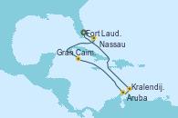 Visitando Fort Lauderdale (Florida/EEUU), Nassau (Bahamas), Gran Caimán (Islas Caimán), Aruba (Antillas), Kralendijk (Antillas), Fort Lauderdale (Florida/EEUU)