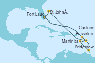 Visitando Fort Lauderdale (Florida/EEUU), Basseterre (Antillas), Bridgetown (Barbados), Martinica (Antillas), Castries (Santa Lucía/Caribe), St. John´s (Antigua y Barbuda), Fort Lauderdale (Florida/EEUU)