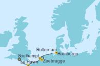 Visitando Southampton (Inglaterra), Le Havre (Francia), Zeebrugge (Bruselas), Rotterdam (Holanda), Rotterdam (Holanda), Hamburgo (Alemania)