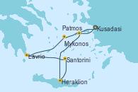 Visitando Kusadasi (Efeso/Turquía)Patmos (Grecia), Heraklion (Creta), Santorini (Grecia), Lavrio (Grecia), Mykonos (Grecia), Kusadasi (Efeso/Turquía)