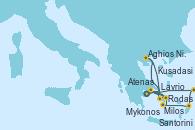 Visitando Atenas (Grecia), Kusadasi (Efeso/Turquía), Rodas (Grecia), Santorini (Grecia), Lavrio (Grecia), Mykonos (Grecia), Mykonos (Grecia), Milos (Grecia), Aghios Nikolaos (Grecia), Atenas (Grecia)