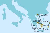 Visitando Kusadasi (Efeso/Turquía), Rodas (Grecia), Santorini (Grecia), Lavrio (Grecia), Mykonos (Grecia), Mykonos (Grecia), Milos (Grecia), Aghios Nikolaos (Grecia), Atenas (Grecia), Kusadasi (Efeso/Turquía)