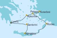 Visitando Lavrio (Grecia)Mykonos (Grecia), Kusadasi (Efeso/Turquía), Patmos (Grecia), Rodas (Grecia), Heraklion (Creta), Santorini (Grecia), Lavrio (Grecia)