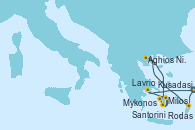 Visitando Kusadasi (Efeso/Turquía), Rodas (Grecia), Aghios Nikolaos (Grecia), Santorini (Grecia), Santorini (Grecia), Milos (Grecia), Mykonos (Grecia), Mykonos (Grecia), Lavrio (Grecia), Kusadasi (Efeso/Turquía)