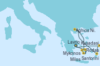 Visitando Lavrio (Grecia), Kusadasi (Efeso/Turquía), Rodas (Grecia), Aghios Nikolaos (Grecia), Santorini (Grecia), Santorini (Grecia), Milos (Grecia), Mykonos (Grecia), Mykonos (Grecia), Lavrio (Grecia)