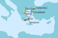 Visitando Lavrio (Grecia), Estambul (Turquía), Estambul (Turquía), Canakkale (Turquía), Tesalónica (Grecia), Volos (Grecia), Santorini (Grecia), Lavrio (Grecia)