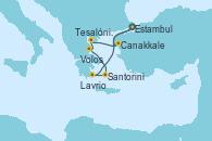 Visitando Estambul (Turquía), Estambul (Turquía), Canakkale (Turquía), Tesalónica (Grecia), Volos (Grecia), Santorini (Grecia), Lavrio (Grecia), Estambul (Turquía)