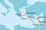 Visitando Lavrio (Grecia), Puerto Said (Egipto), Ashdod (Israel), Limassol (Chipre), Rodas (Grecia), Kusadasi (Efeso/Turquía), Lavrio (Grecia)