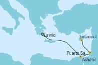 Visitando Lavrio (Grecia), Puerto Said (Egipto), Ashdod (Israel), Limassol (Chipre)