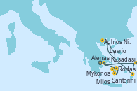 Visitando Atenas (Grecia), Kusadasi (Efeso/Turquía), Rodas (Grecia), Aghios Nikolaos (Grecia), Santorini (Grecia), Santorini (Grecia), Milos (Grecia), Mykonos (Grecia), Mykonos (Grecia), Lavrio (Grecia)