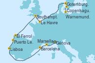 Visitando Génova (Italia), Marsella (Francia), Barcelona, Lisboa (Portugal), Puerto Leixões (Portugal), El Ferrol (Galicia/España), Southampton (Inglaterra), Le Havre (Francia), Gotemburgo (Suecia), Copenhague (Dinamarca), Warnemunde (Alemania)