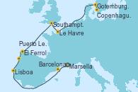Visitando Marsella (Francia), Barcelona, Lisboa (Portugal), Puerto Leixões (Portugal), El Ferrol (Galicia/España), Southampton (Inglaterra), Le Havre (Francia), Gotemburgo (Suecia), Copenhague (Dinamarca)