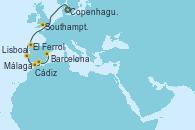 Visitando Copenhague (Dinamarca), Southampton (Inglaterra), El Ferrol (Galicia/España), Lisboa (Portugal), Cádiz (España), Málaga, Barcelona