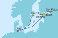 Visitando Kiel (Alemania), Tallin (Estonia), San Petersburgo (Rusia), Helsinki (Finlandia), Estocolmo (Suecia), Kiel (Alemania)