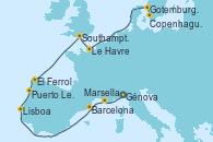 Visitando Génova (Italia), Marsella (Francia), Barcelona, Lisboa (Portugal), Puerto Leixões (Portugal), El Ferrol (Galicia/España), Southampton (Inglaterra), Le Havre (Francia), Gotemburgo (Suecia), Copenhague (Dinamarca)
