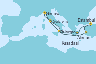Visitando Atenas (Grecia), Palermo (Italia), Civitavecchia (Roma), Génova (Italia), Kusadasi (Efeso/Turquía), Estambul (Turquía), Estambul (Turquía), Atenas (Grecia)