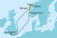 Visitando Southampton (Inglaterra), Haugesund (Noruega), Flam (Noruega), Olden (Noruega), Bergen (Noruega), Southampton (Inglaterra)
