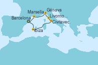 Visitando Barcelona, Ibiza (España), Civitavecchia (Roma), Livorno, Pisa y Florencia (Italia), Génova (Italia), Marsella (Francia), Barcelona