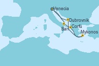 Visitando Venecia (Italia), Bari (Italia), Corfú (Grecia), Mykonos (Grecia), Dubrovnik (Croacia), Venecia (Italia)