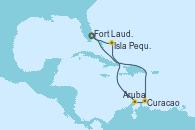 Visitando Fort Lauderdale (Florida/EEUU), Curacao (Antillas), Aruba (Antillas), Isla Pequeña (San Salvador/Bahamas), Fort Lauderdale (Florida/EEUU)