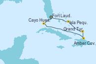 Visitando Fort Lauderdale (Florida/EEUU), Cayo Hueso (Key West/Florida), Amber Cove (República Dominicana), Grand Turks(Turks & Caicos), Isla Pequeña (San Salvador/Bahamas), Fort Lauderdale (Florida/EEUU)