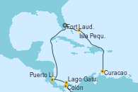 Visitando Fort Lauderdale (Florida/EEUU), Isla Pequeña (San Salvador/Bahamas), Curacao (Antillas), Curacao (Antillas), Lago Gatun (Panamá), Colón (Panamá), Puerto Limón (Costa Rica), Fort Lauderdale (Florida/EEUU)