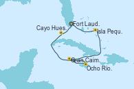 Visitando Fort Lauderdale (Florida/EEUU), Isla Pequeña (San Salvador/Bahamas), Gran Caimán (Islas Caimán), Ocho Ríos (Jamaica), Cayo Hueso (Key West/Florida), Fort Lauderdale (Florida/EEUU)