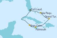 Visitando Fort Lauderdale (Florida/EEUU), Gran Caimán (Islas Caimán), Falmouth (Jamaica), Grand Turks(Turks & Caicos), Isla Pequeña (San Salvador/Bahamas), Fort Lauderdale (Florida/EEUU)
