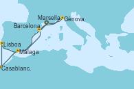 Visitando Marsella (Francia), Génova (Italia), Málaga, Casablanca (Marruecos), Lisboa (Portugal), Barcelona, Marsella (Francia)
