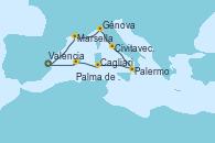 Visitando Valencia, Marsella (Francia), Génova (Italia), Civitavecchia (Roma), Palermo (Italia), Cagliari (Cerdeña), Palma de Mallorca (España), Valencia