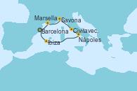 Visitando Barcelona,Marsella (Francia),Savona (Italia),Civitavecchia (Roma),Nápoles (Italia),Navegación,Ibiza (España),Barcelona