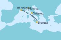 Visitando Génova (Italia), Marsella (Francia), Siracusa (Sicilia), Taranto (Italia), Civitavecchia (Roma), Génova (Italia)