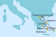 Visitando Aghios Nikolaos (Grecia), Lavrio (Grecia), Tesalónica (Grecia), Mykonos (Grecia), Mykonos (Grecia), Santorini (Grecia), Rodas (Grecia), Limassol (Chipre), Aghios Nikolaos (Grecia)