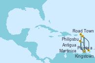 Visitando Pointe a Pitre (Guadalupe), Road Town (Isla Tórtola/Islas Vírgenes), Philipsburg (St. Maarten), Antigua (Antillas), Kingstown (Granadinas), Martinica (Antillas), Pointe a Pitre (Guadalupe)