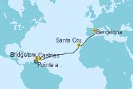 Visitando Pointe a Pitre (Guadalupe), Castries (Santa Lucía/Caribe), Bridgetown (Barbados), Santa Cruz de Tenerife (España), Barcelona