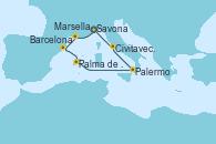 Visitando Savona (Italia), Marsella (Francia), Barcelona, Palma de Mallorca (España), Palermo (Italia), Civitavecchia (Roma), Savona (Italia)