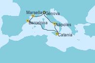 Visitando Génova (Italia), Marsella (Francia), Barcelona, Catania (Sicilia), Nápoles (Italia), Génova (Italia)