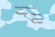 Visitando Génova (Italia), Marsella (Francia), Barcelona, La Valletta (Malta), Catania (Sicilia), Nápoles (Italia), Génova (Italia)