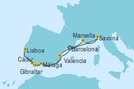 Visitando Barcelona, Savona (Italia), Marsella (Francia), Málaga, Cádiz (España), Lisboa (Portugal), Gibraltar (Inglaterra), Valencia, Barcelona