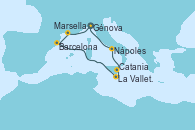 Visitando Génova (Italia), Marsella (Francia), Barcelona, Barcelona, La Valletta (Malta), Catania (Sicilia), Nápoles (Italia), Génova (Italia)