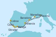 Visitando Savona (Italia), Marsella (Francia), Málaga, Cádiz (España), Lisboa (Portugal), Gibraltar (Inglaterra), Valencia, Barcelona, Savona (Italia)