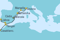 Visitando Valencia, Barcelona, Savona (Italia), Marsella (Francia), Tánger (Marruecos), Casablanca (Marruecos), Casablanca (Marruecos), Cádiz (España), Lisboa (Portugal), Valencia