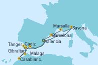 Visitando Valencia, Savona (Italia), Marsella (Francia), Barcelona, Cádiz (España), Tánger (Marruecos), Casablanca (Marruecos), Gibraltar (Inglaterra), Málaga, Valencia